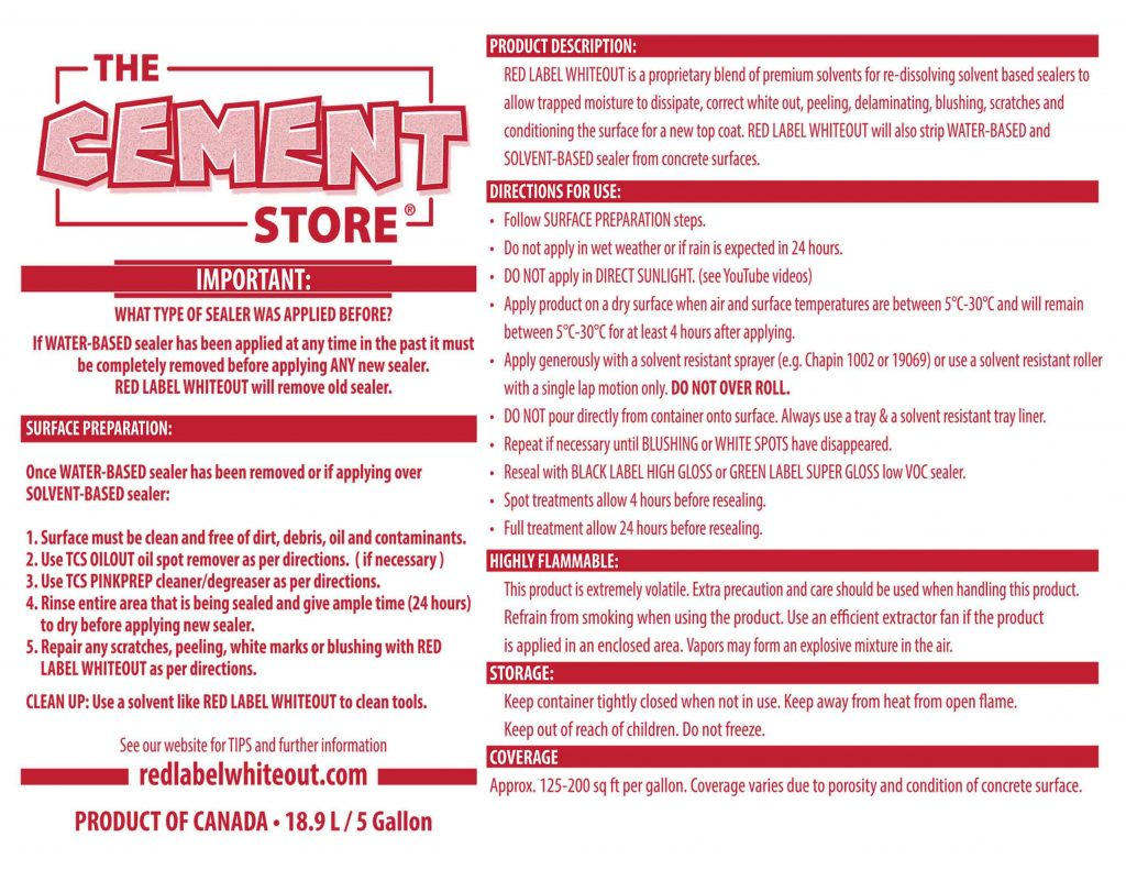 THE CEMENT STORE RED LABEL APPLICATION TIPS